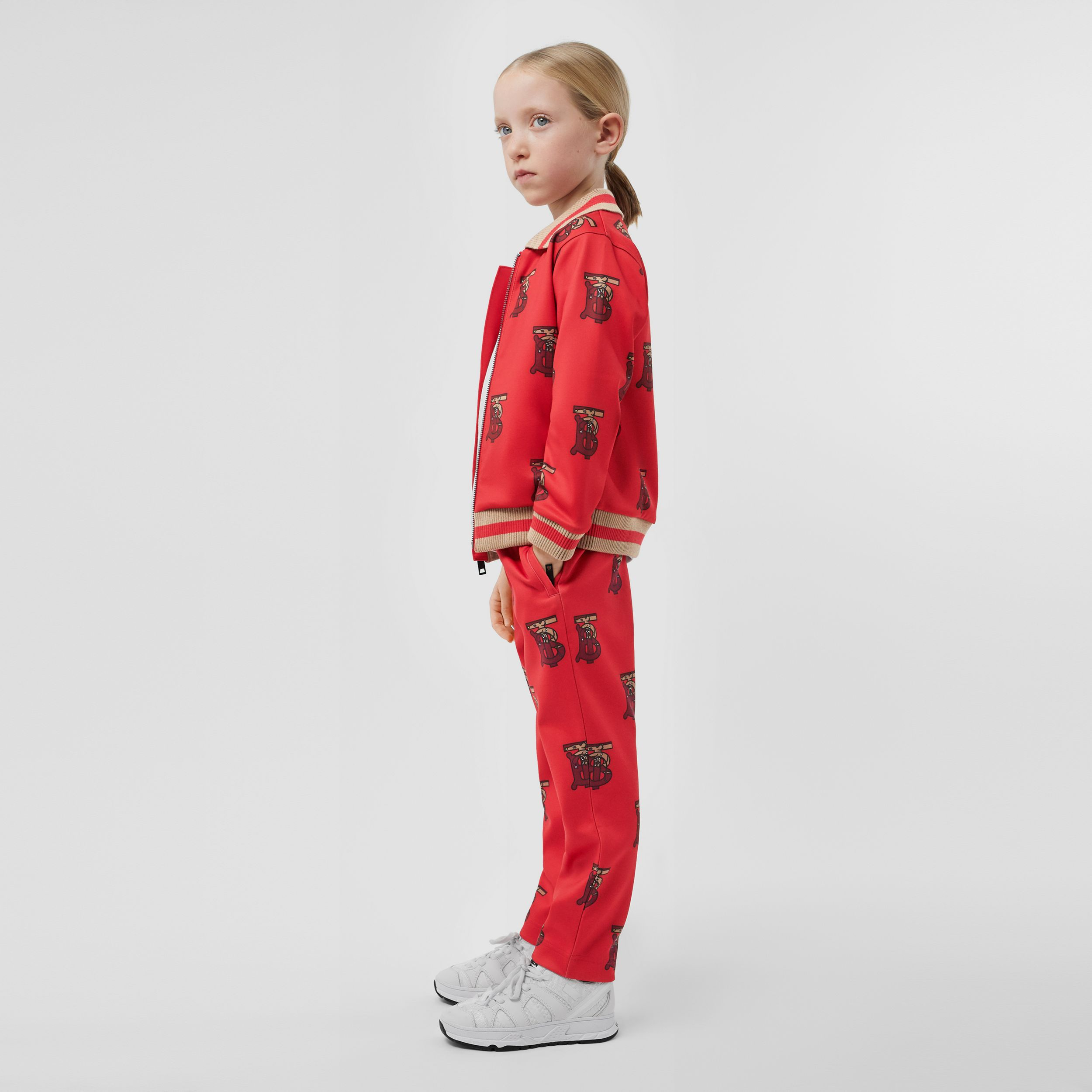 Monogram Motif Neoprene Trackpants in Bright Red | Burberry - 3