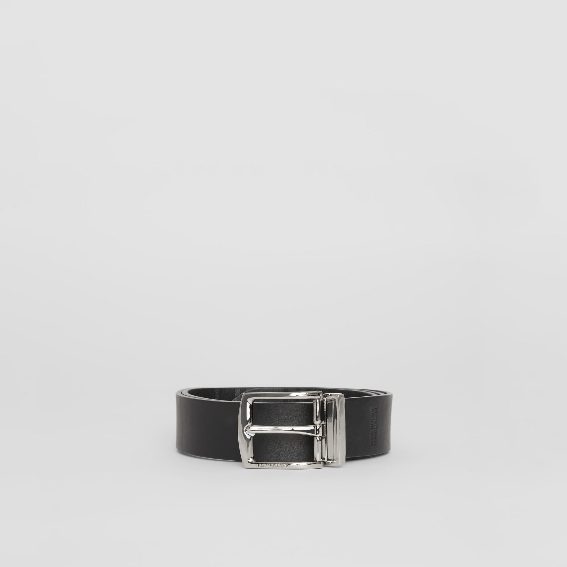 Reversible EKD Check Leather Belt in Black - Men | Burberry - gallery image 6