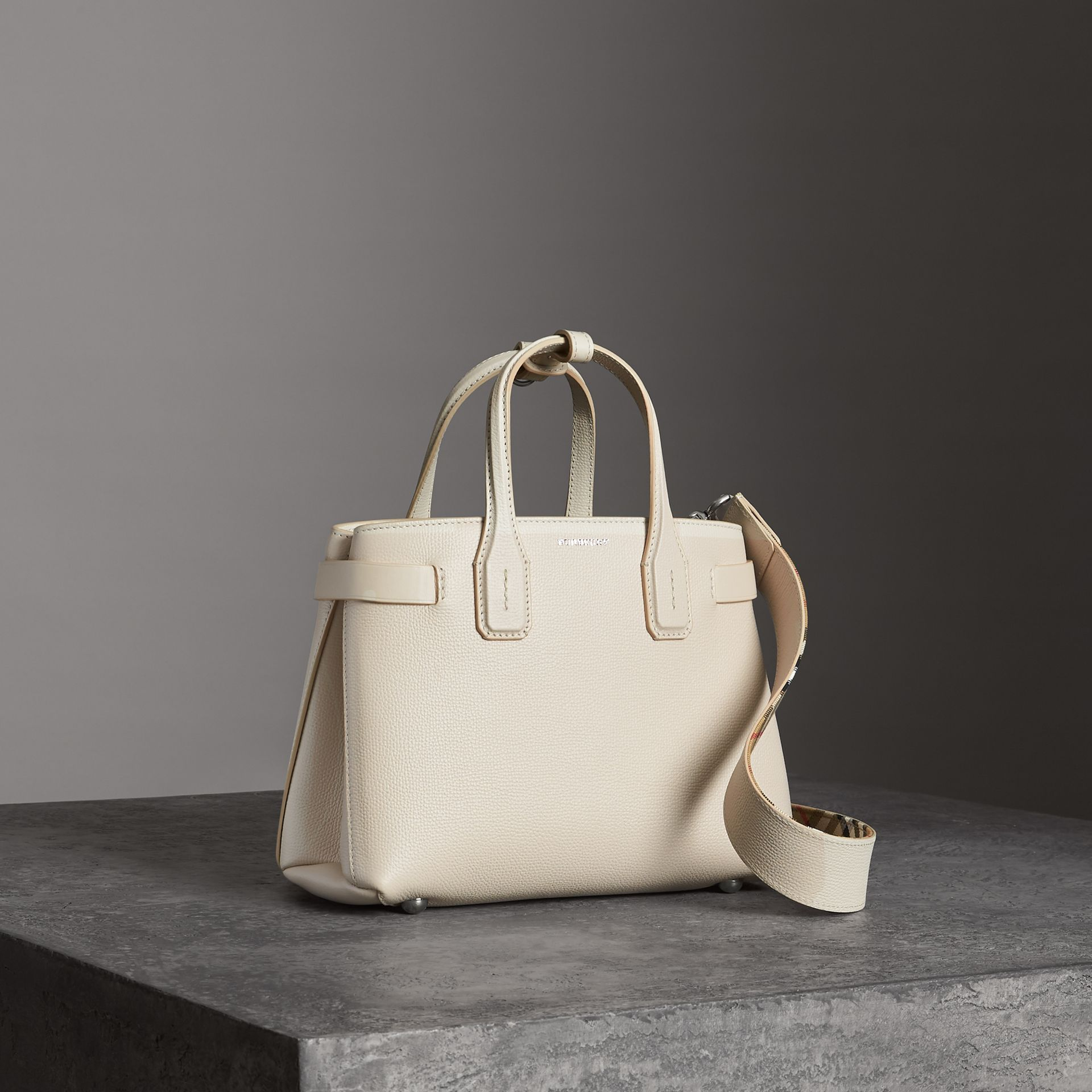 The Small Banner in Leather in Limestone - Women | Burberry Australia - gallery image 0