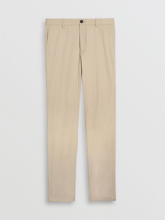 Slim Fit Cotton Chinos in Stone