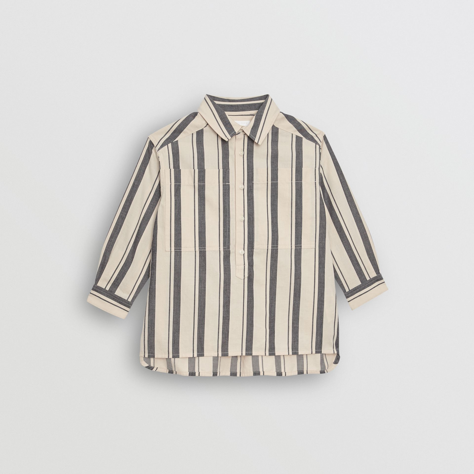 Striped Cotton Wool Shirt in Dark Grey | Burberry - gallery image 0