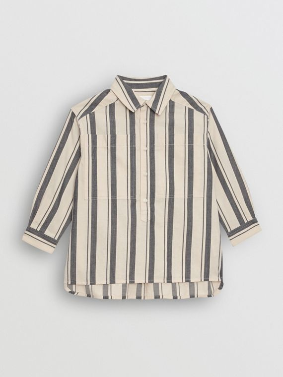 Striped Cotton Wool Shirt in Dark Grey