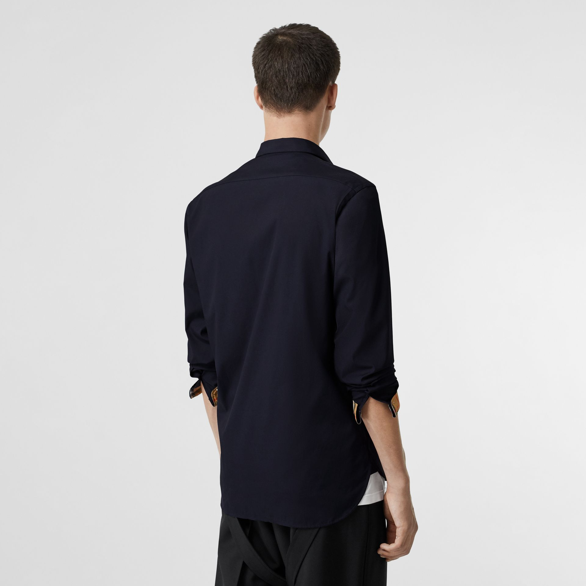 Contrast Button Stretch Cotton Shirt in Navy - Men | Burberry Australia - gallery image 2