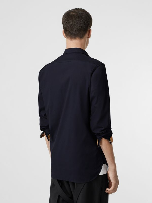Contrast Button Stretch Cotton Shirt in Navy - Men | Burberry Australia - cell image 2