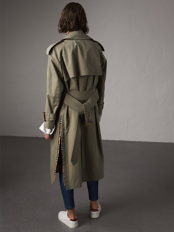 Side-slit Tropical Garbadine Trench Coat in Chalk Green - Women | Burberry - cell image 2