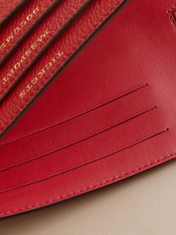 Grainy Leather Travel Case in Parade Red - Women | Burberry - cell image 3