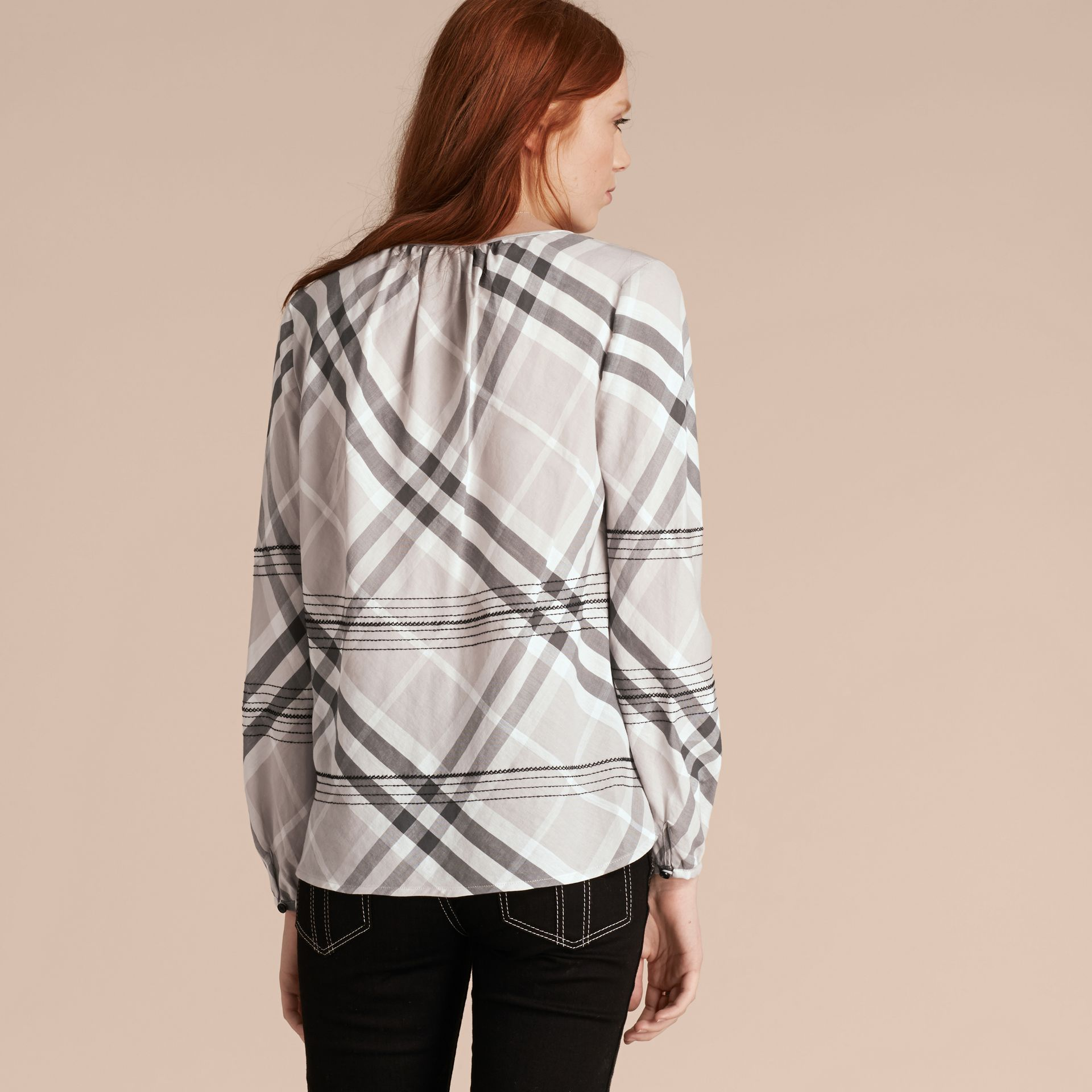 Pale grey Topstitched Check Cotton Tunic Top Pale Grey - gallery image 3