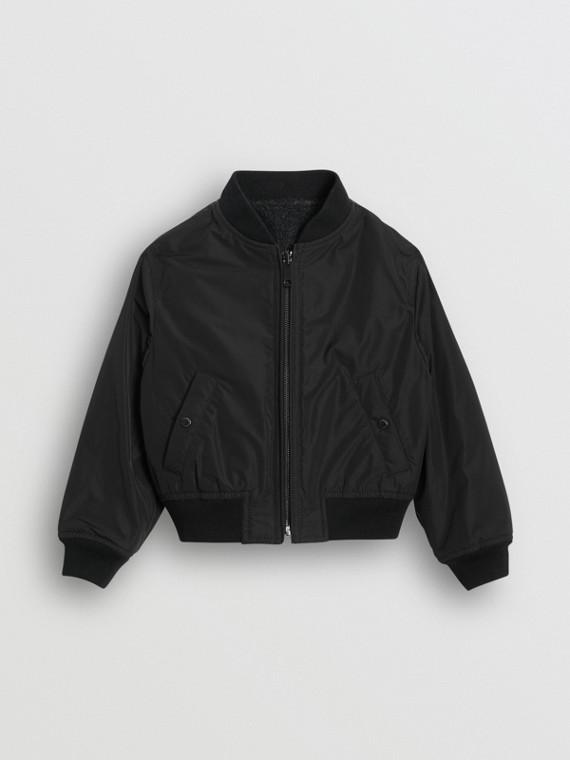 Logo Print Shape-memory Taffeta Bomber Jacket in Dark Grey