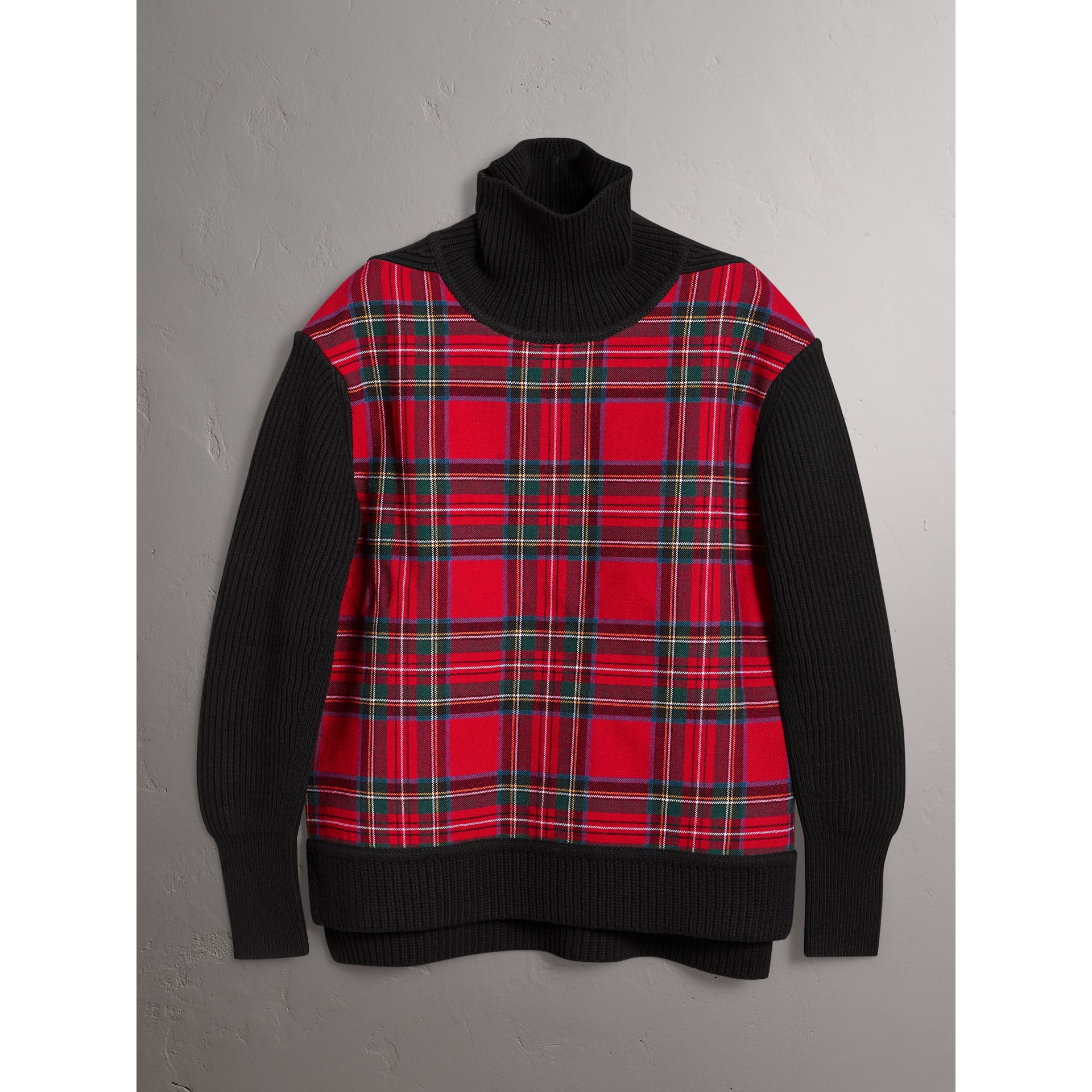Tartan Panel Wool Cashmere Roll-neck Sweater in Red/navy - Women | Burberry United Kingdom - gallery image 3