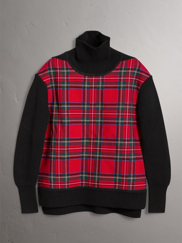 Tartan Panel Wool Cashmere Roll-neck Sweater in Red/navy - Women | Burberry United Kingdom - cell image 3