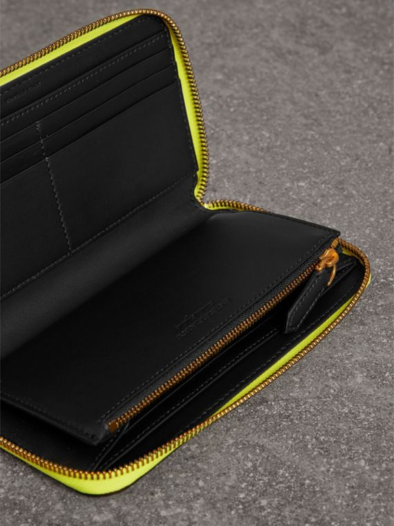 Embossed Leather Ziparound Wallet in Bright Yellow | Burberry - cell image 3