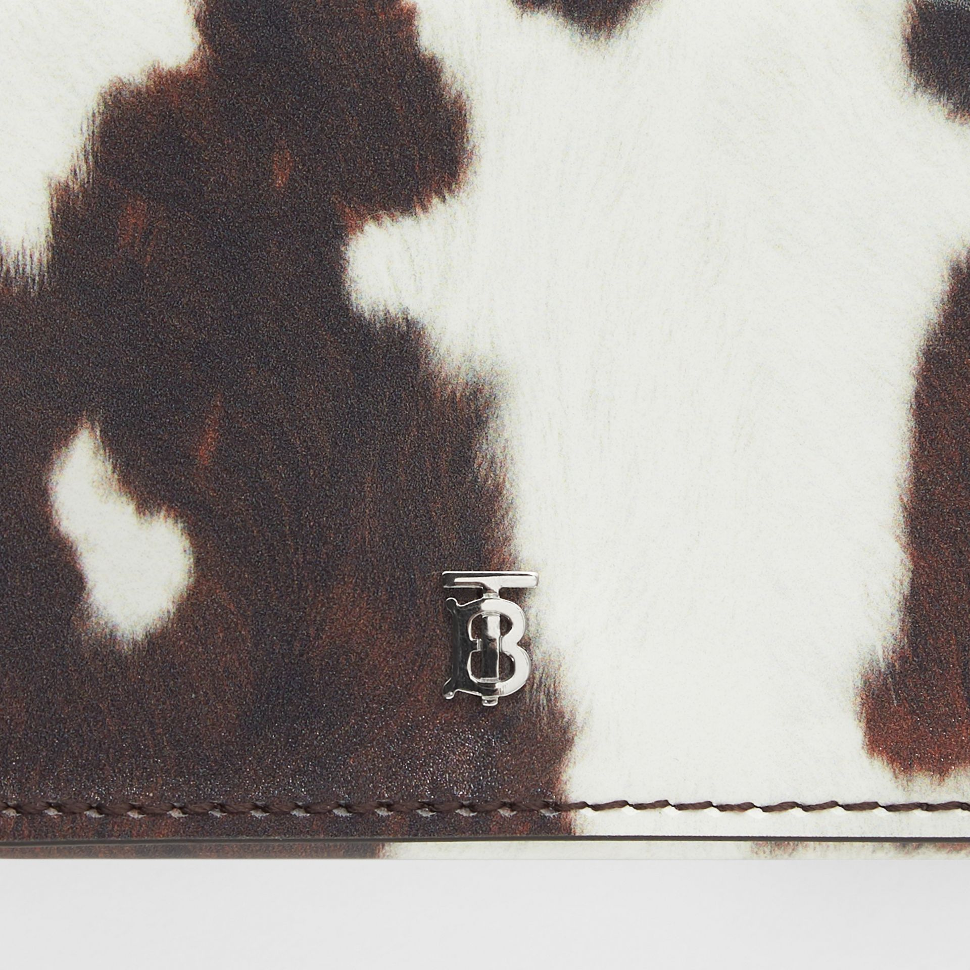 Small Cow Print Leather Folding Wallet in Malt Brown - Women | Burberry United Kingdom - gallery image 1
