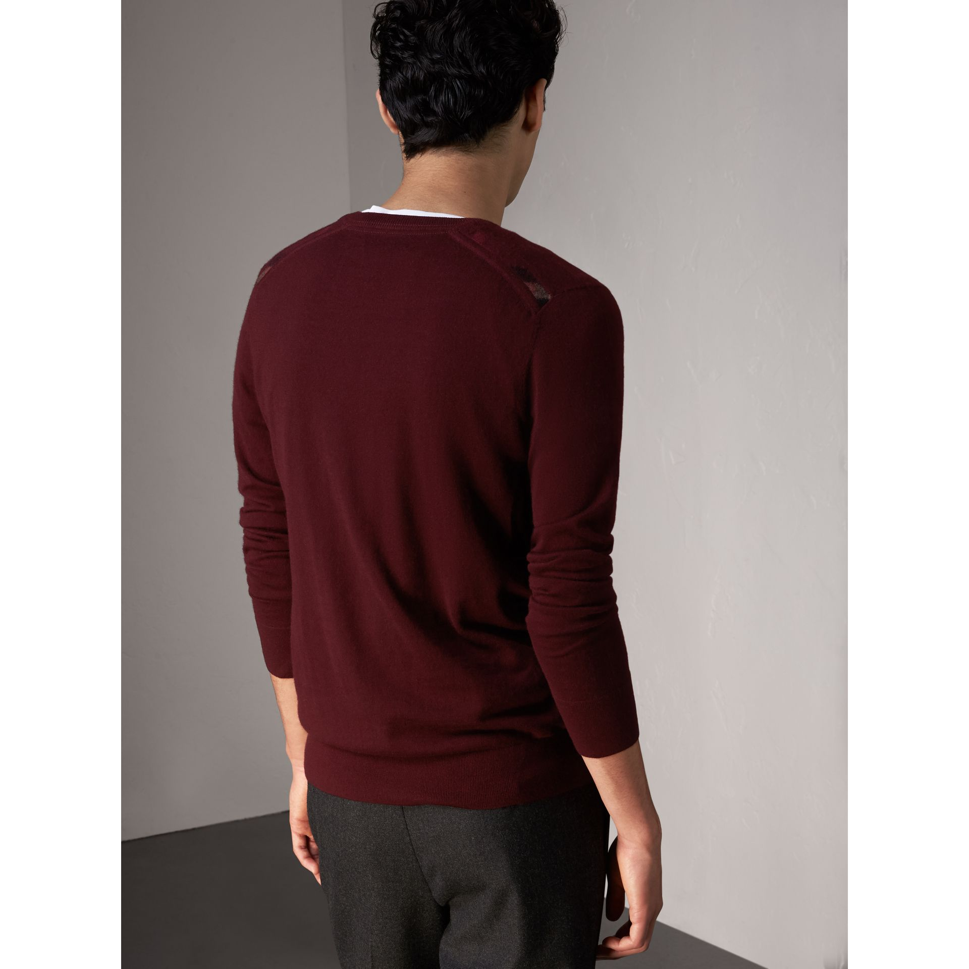 Check Jacquard Detail Cashmere Sweater in Deep Claret - Men | Burberry Singapore - gallery image 3