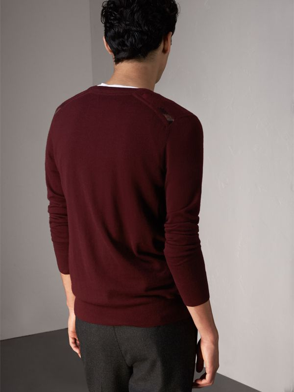Check Jacquard Detail Cashmere Sweater in Deep Claret - Men | Burberry United States - cell image 2