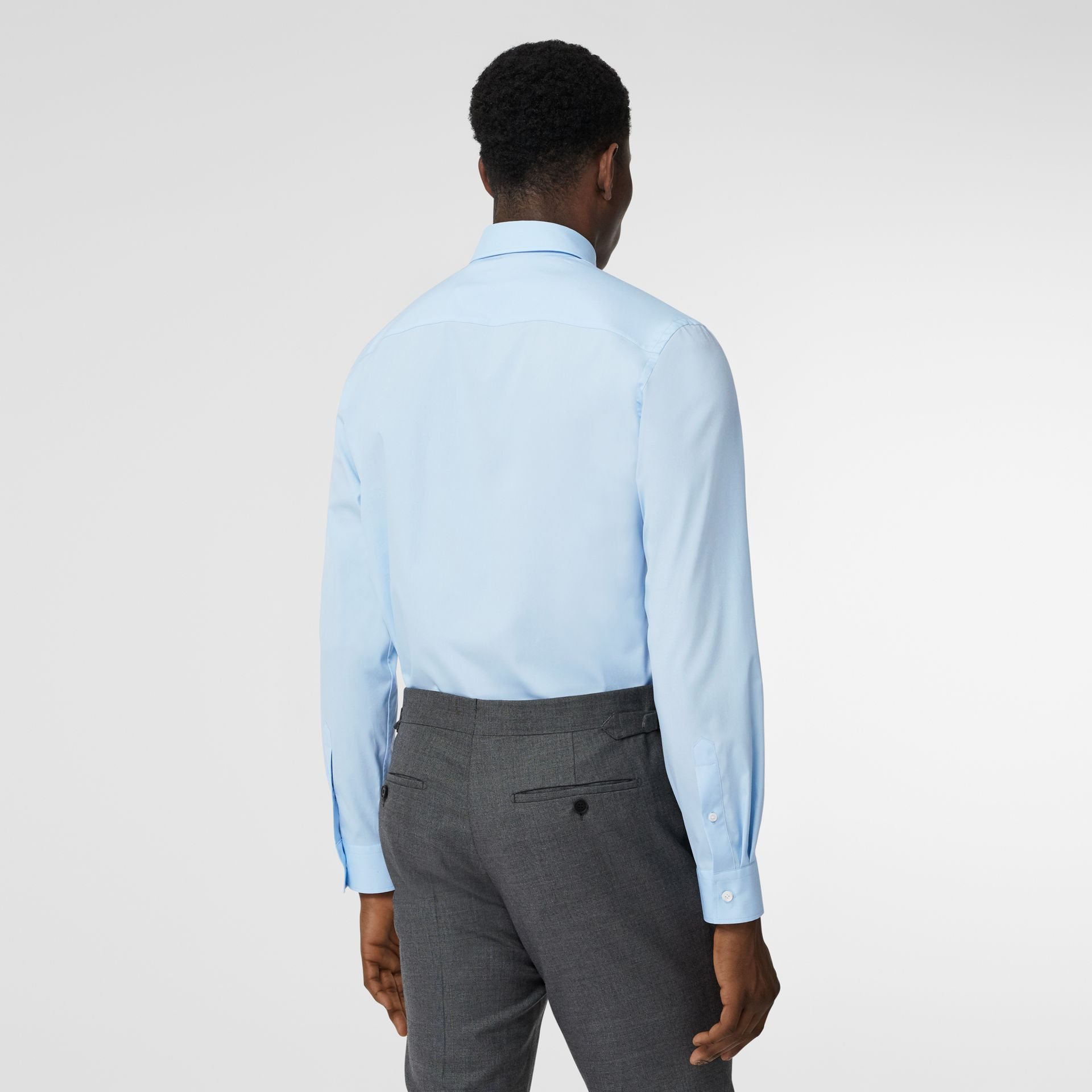 Monogram Motif Stretch Cotton Poplin Shirt in Pale Blue - Men | Burberry - gallery image 2
