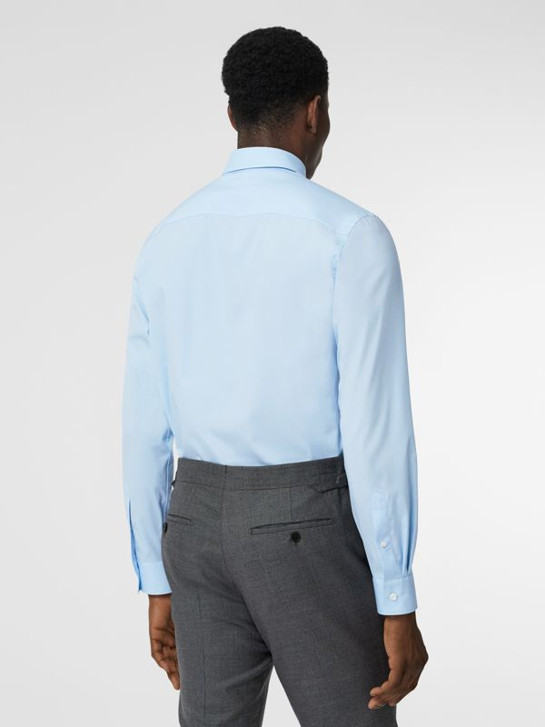 Monogram Motif Stretch Cotton Poplin Shirt in Pale Blue - Men | Burberry Canada - cell image 2