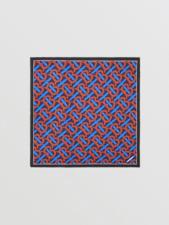 Lenço grande de algodão e seda com estampa de monograma (Azul Marinho)