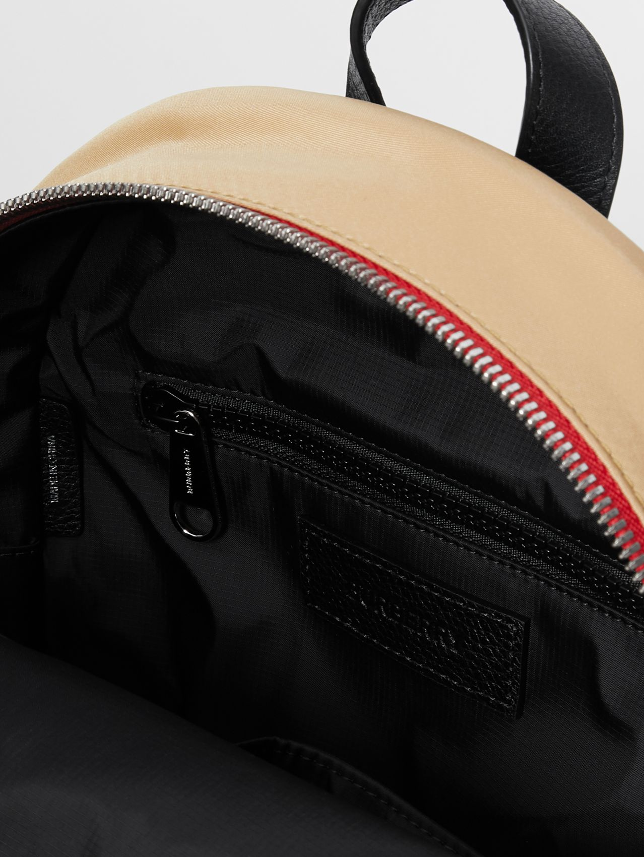 Logo Detail Icon Stripe Nylon Backpack in Archive Beige