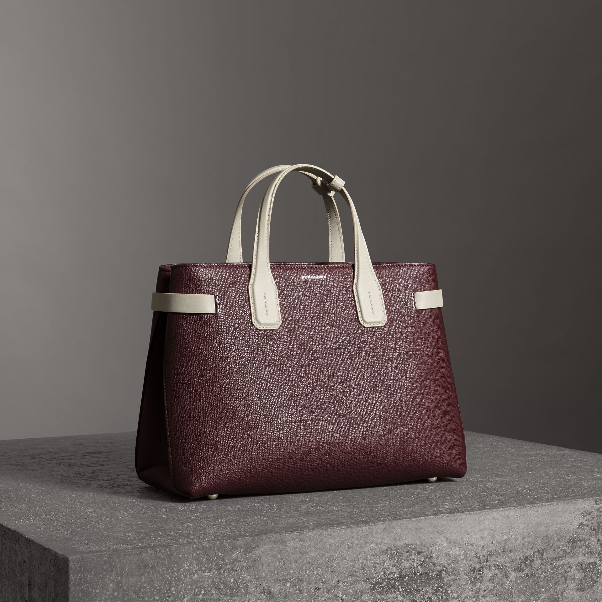The Medium Banner in Two-tone Leather in Mahogany Red/limestone - Women | Burberry - gallery image 0