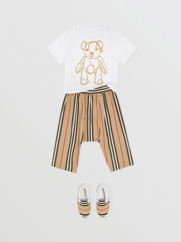 Icon Stripe Cotton Poplin Trousers in Archive Beige - Children | Burberry - cell image 2