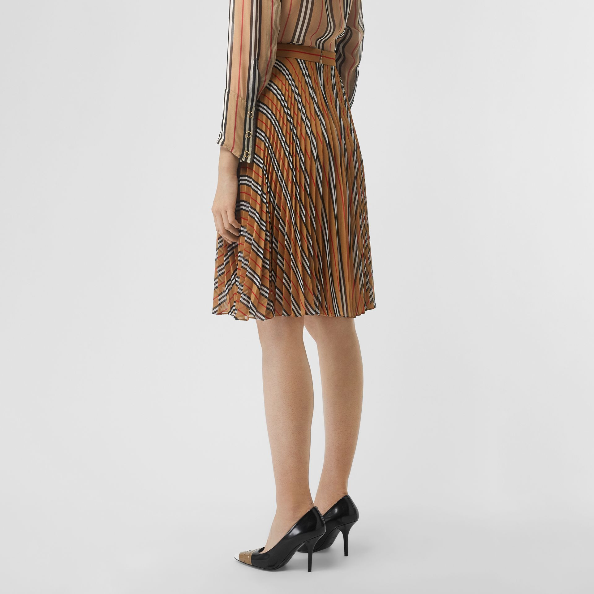 Icon Stripe Pleated A-line Skirt in Antique Yellow - Women | Burberry - gallery image 2
