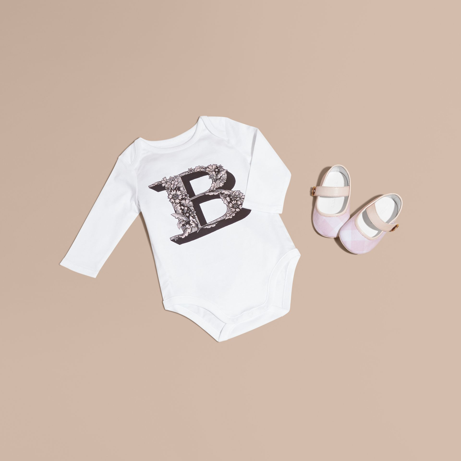 Pale ash rose Decorative Letter Motif Long-sleeved Cotton Bodysuit Pale Ash Rose - gallery image 1