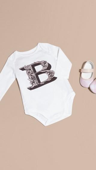 Decorative Letter Motif Long-sleeved Cotton Bodysuit
