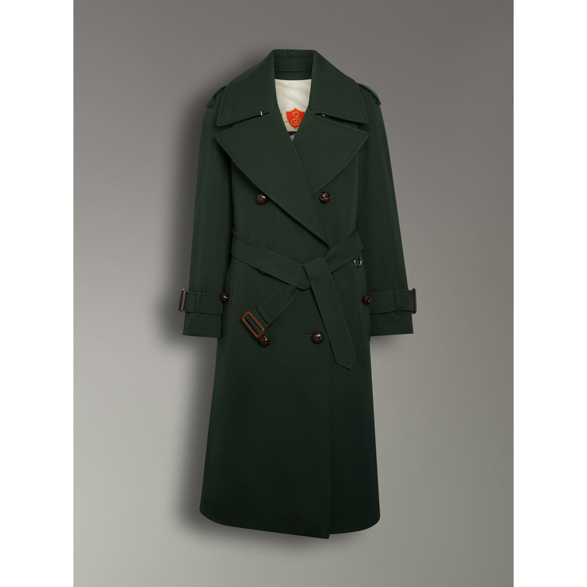 Oversized Lapel Wool Gabardine Trench Coat in Dark Cedar Green - Women | Burberry Australia - gallery image 3