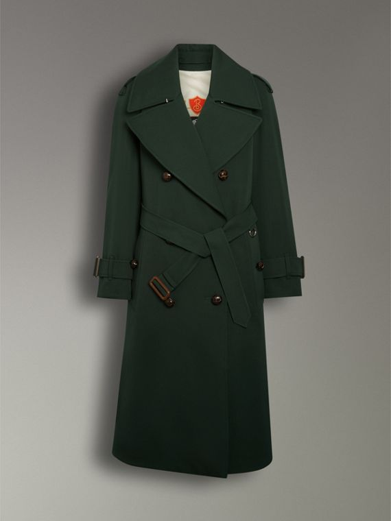 Oversized Lapel Wool Gabardine Trench Coat in Dark Cedar Green - Women | Burberry Australia - cell image 3