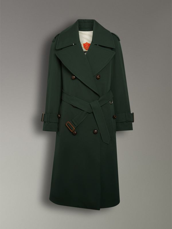 Oversized Lapel Wool Gabardine Trench Coat in Dark Cedar Green - Women | Burberry - cell image 3