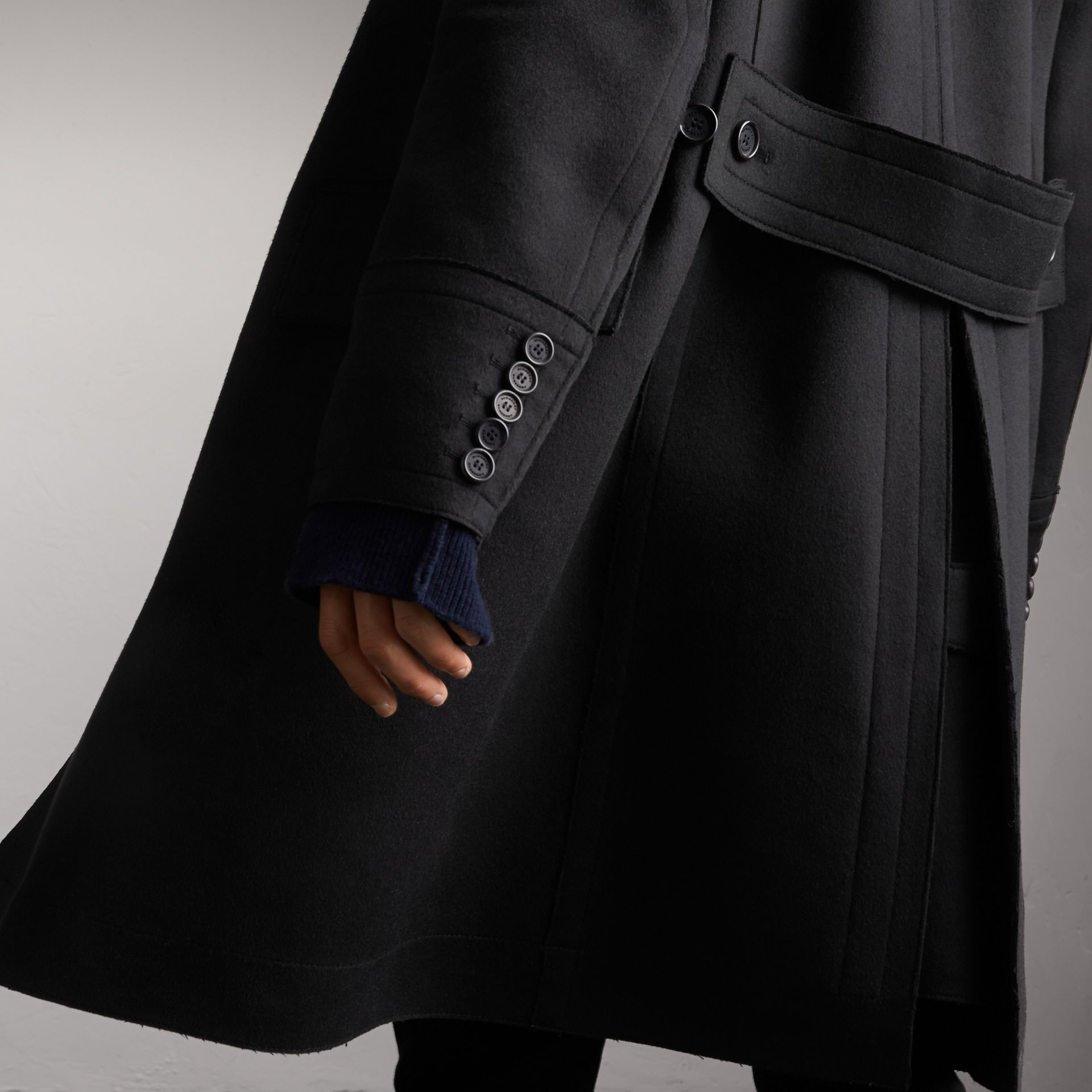 Resin Button Wool Greatcoat in Black - Men | Burberry - gallery image 5