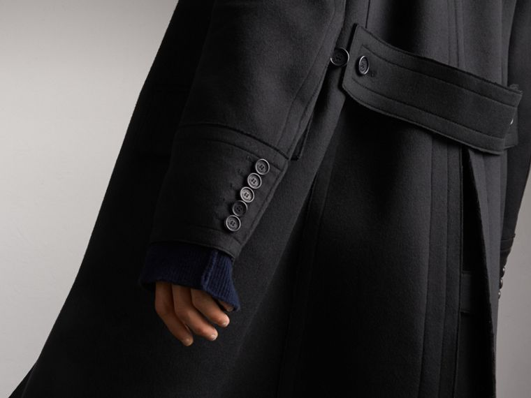 Resin Button Wool Greatcoat in Black - Men | Burberry Singapore - cell image 4