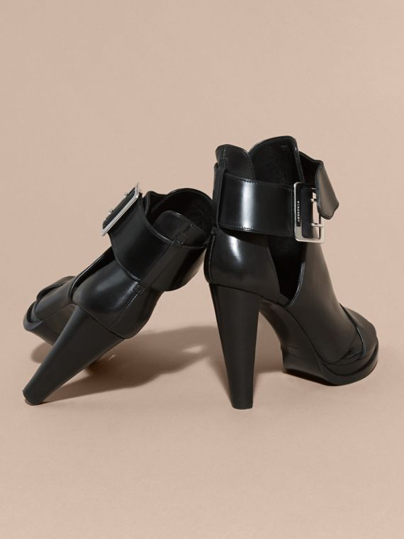 Black Buckle Detail Peep-toe Platform Ankle Boots - cell image 3