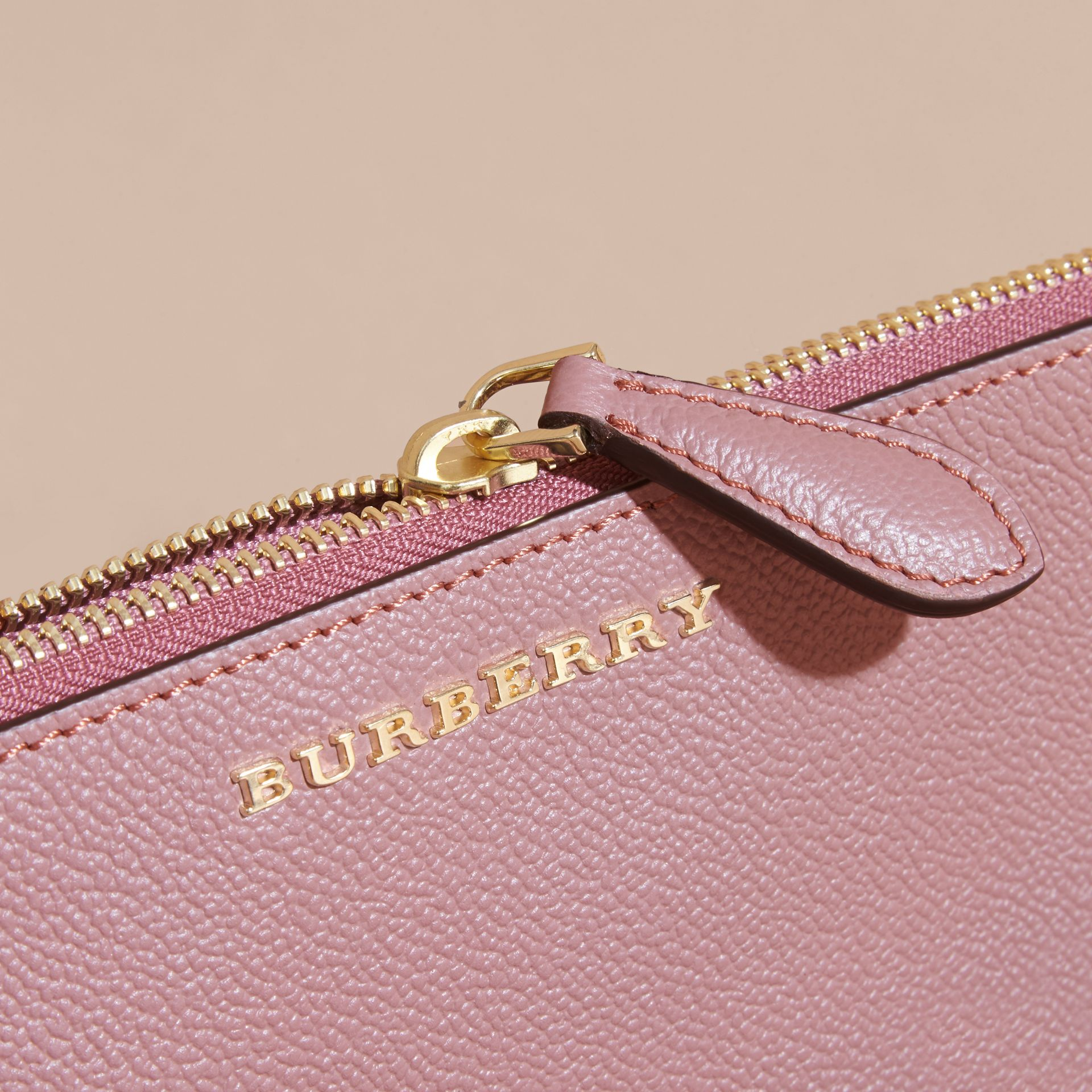 Leather Clutch Bag with Check Lining in Dusty Pink - Women | Burberry - gallery image 7
