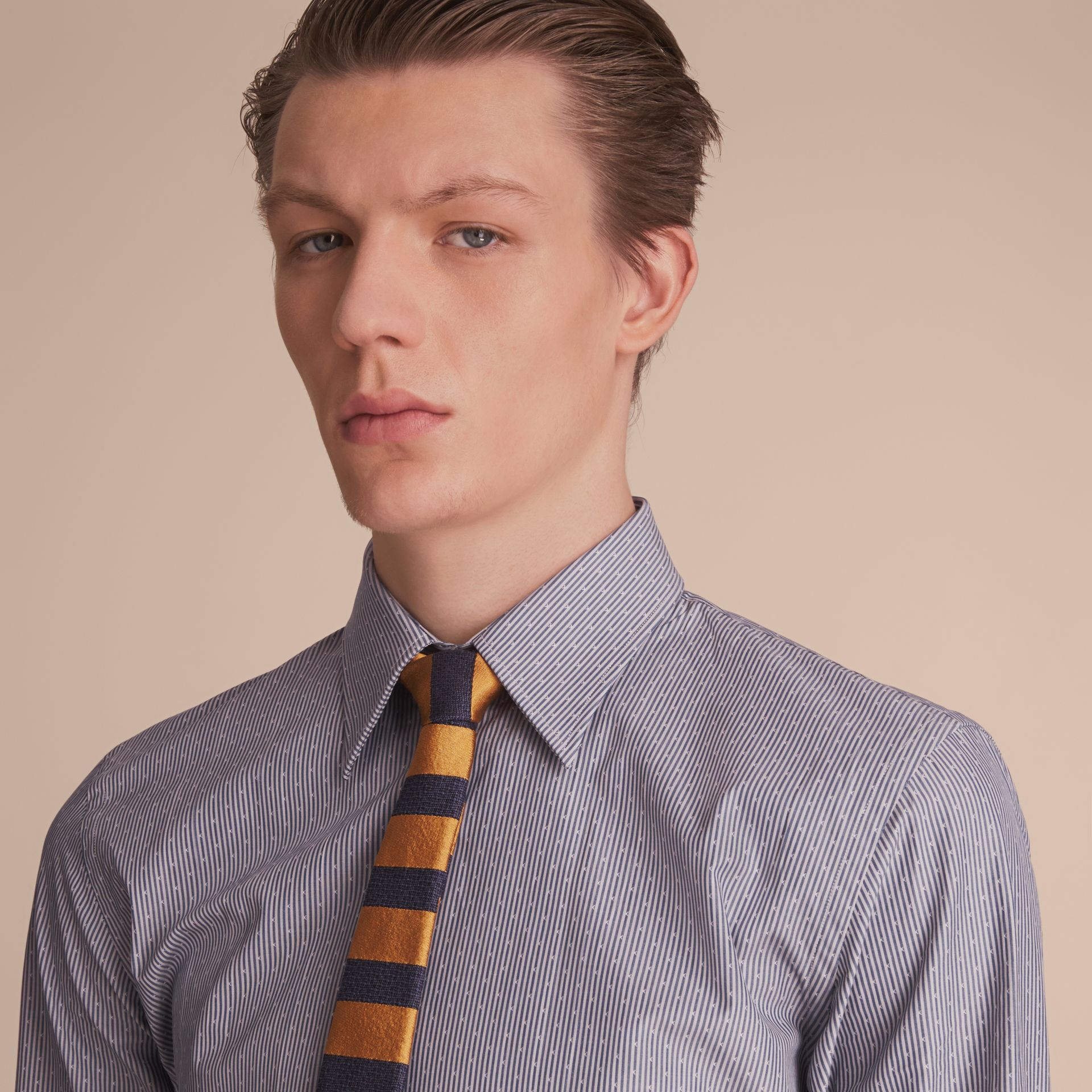 Slim Fit Striped Cross Dobby Cotton Shirt in Antique Navy - Men | Burberry Canada - gallery image 5