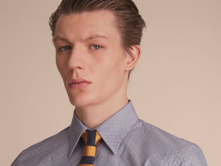 Slim Fit Striped Cross Dobby Cotton Shirt in Antique Navy - Men | Burberry Canada - cell image 4