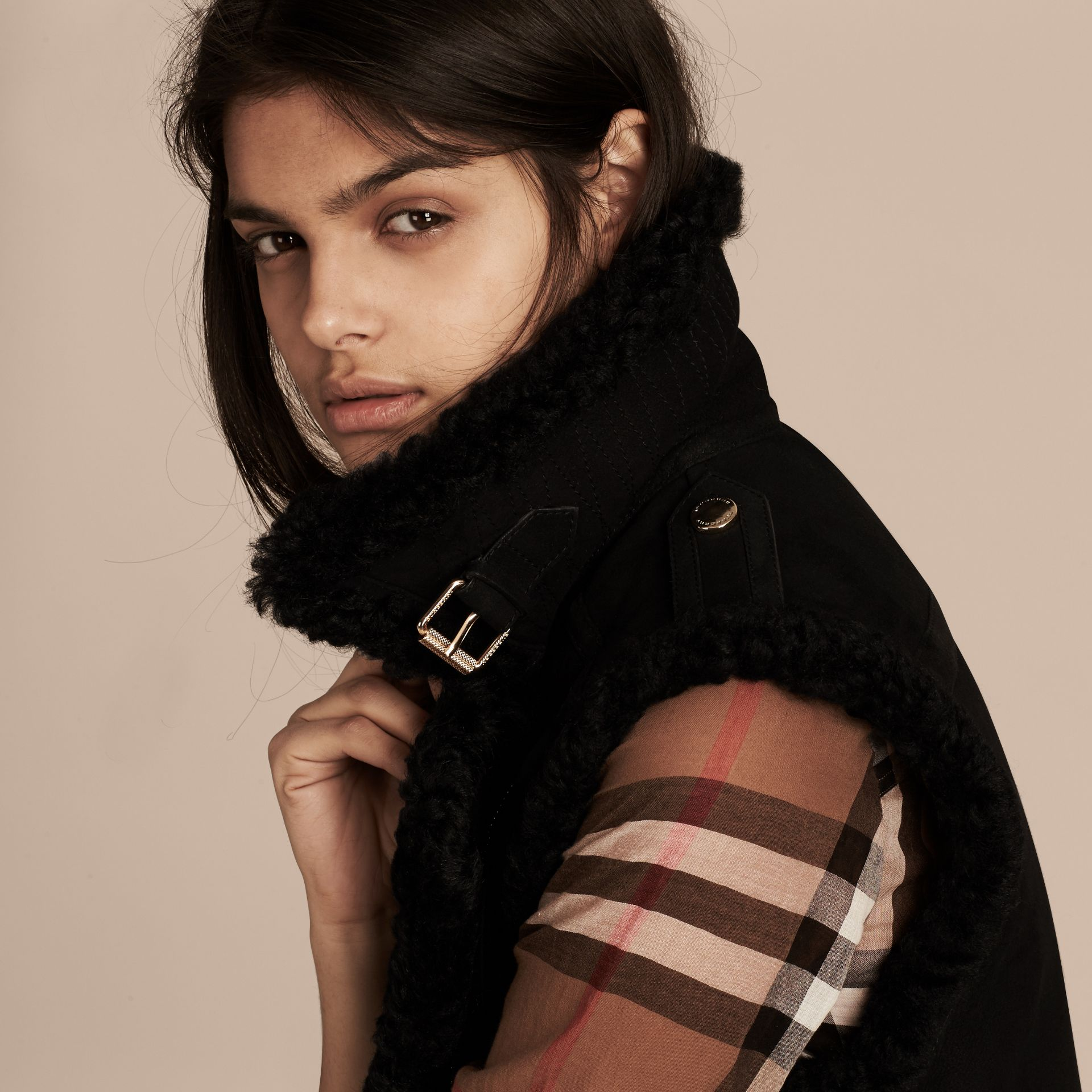 Black Shearling Biker Gilet Black - gallery image 5
