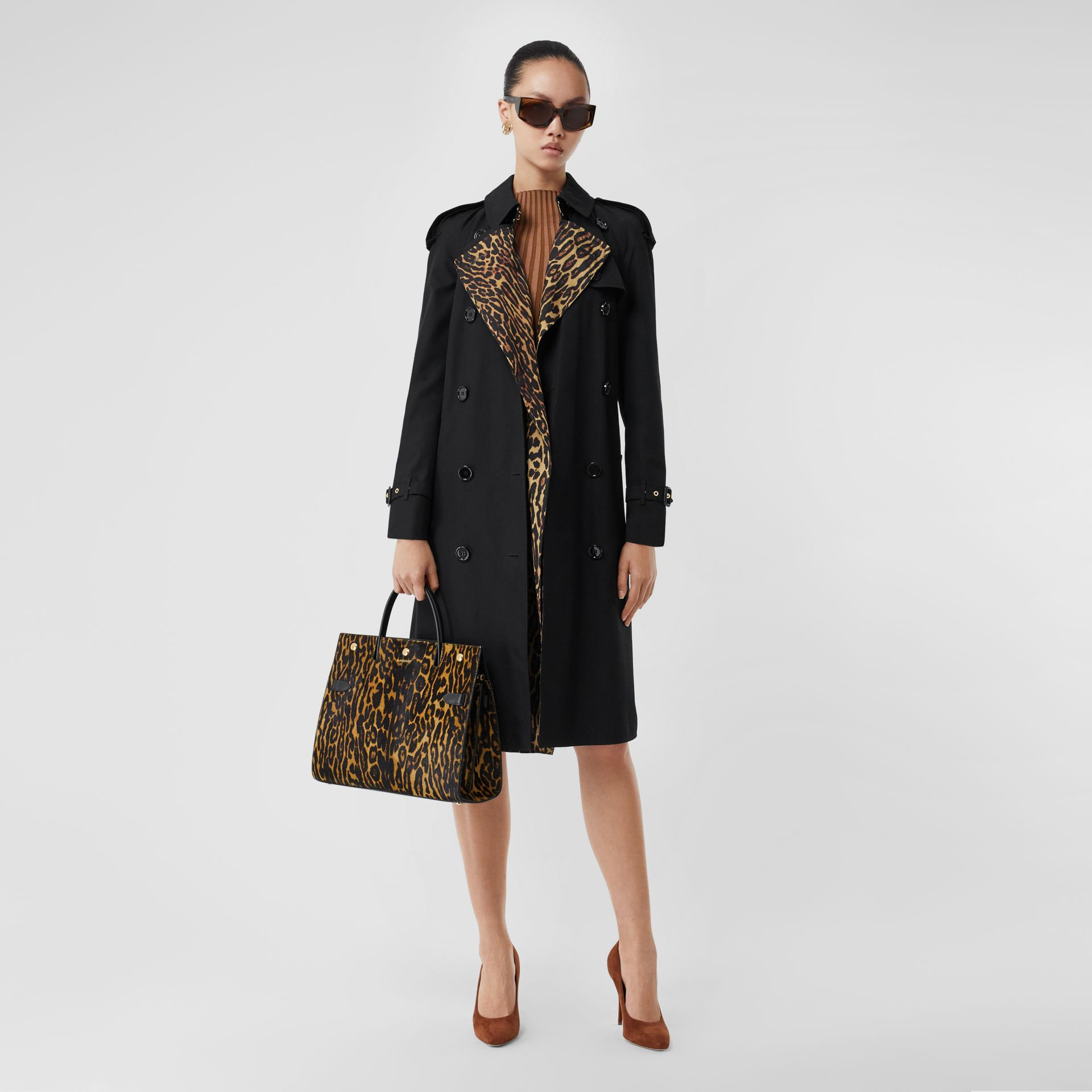 Medium Leopard Print Calf Hair and Leather Title Bag in Black - Women   Burberry - gallery image 5