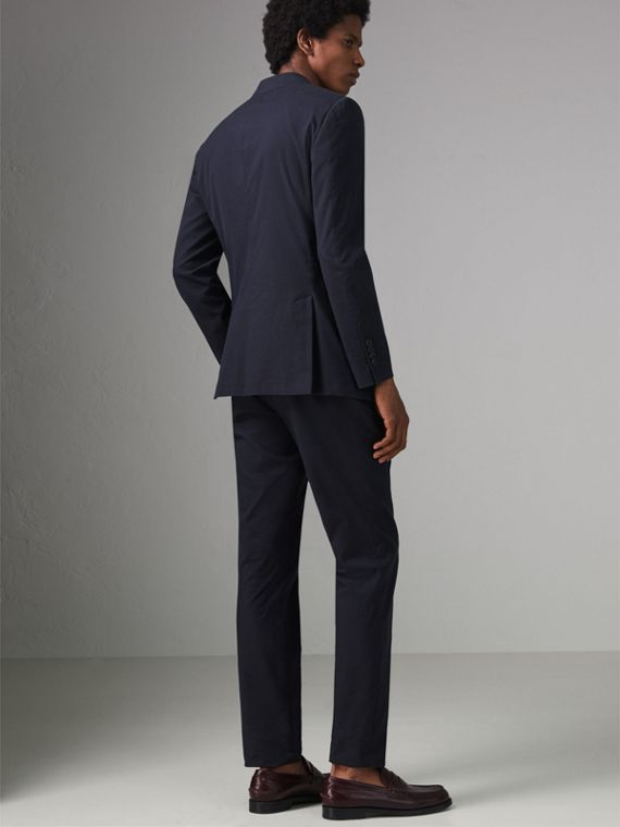 Soho Fit Cotton Silk Seersucker Suit in Navy - Men | Burberry - cell image 2