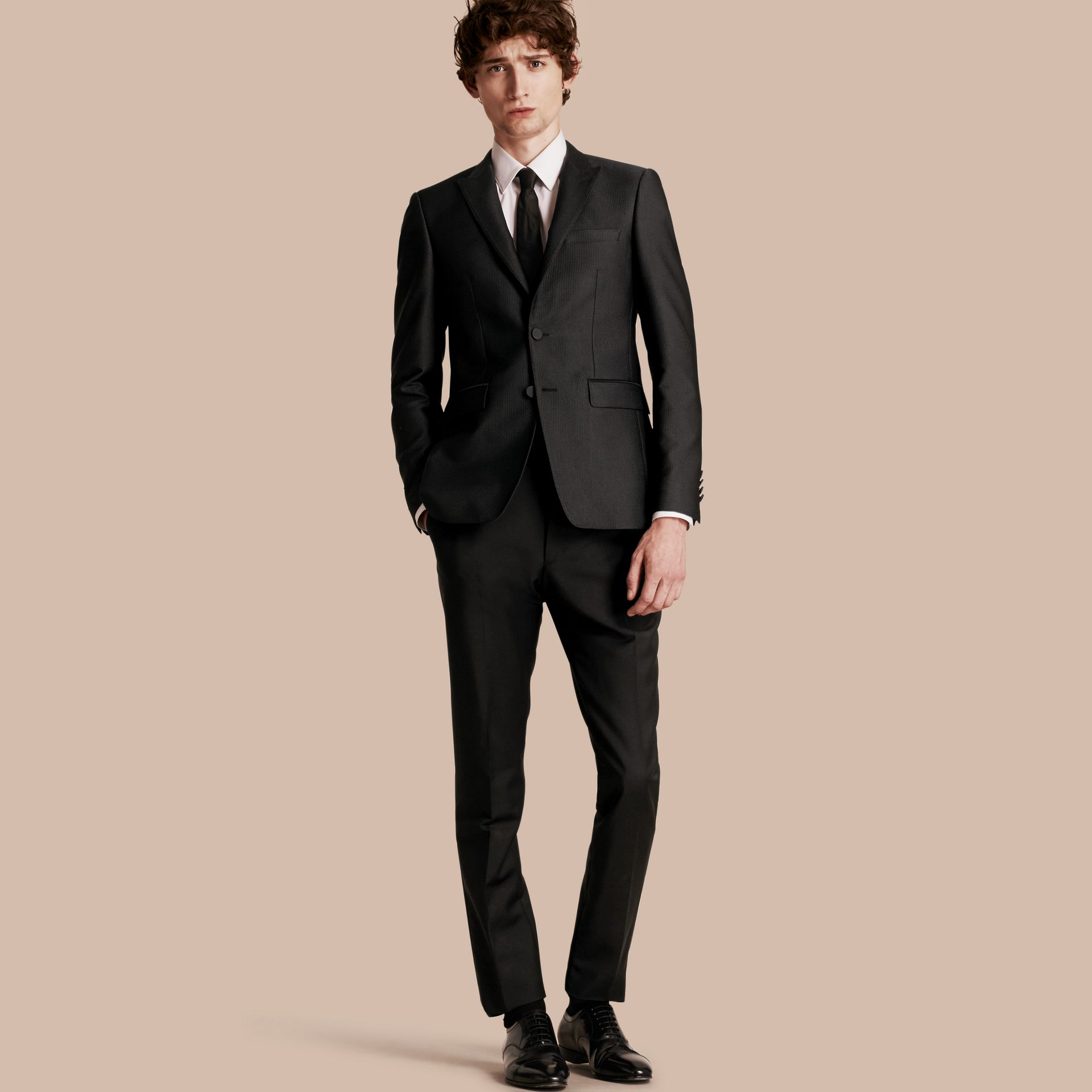 Black Slim Fit Half-canvas Evening Jacquard Jacket - gallery image 1