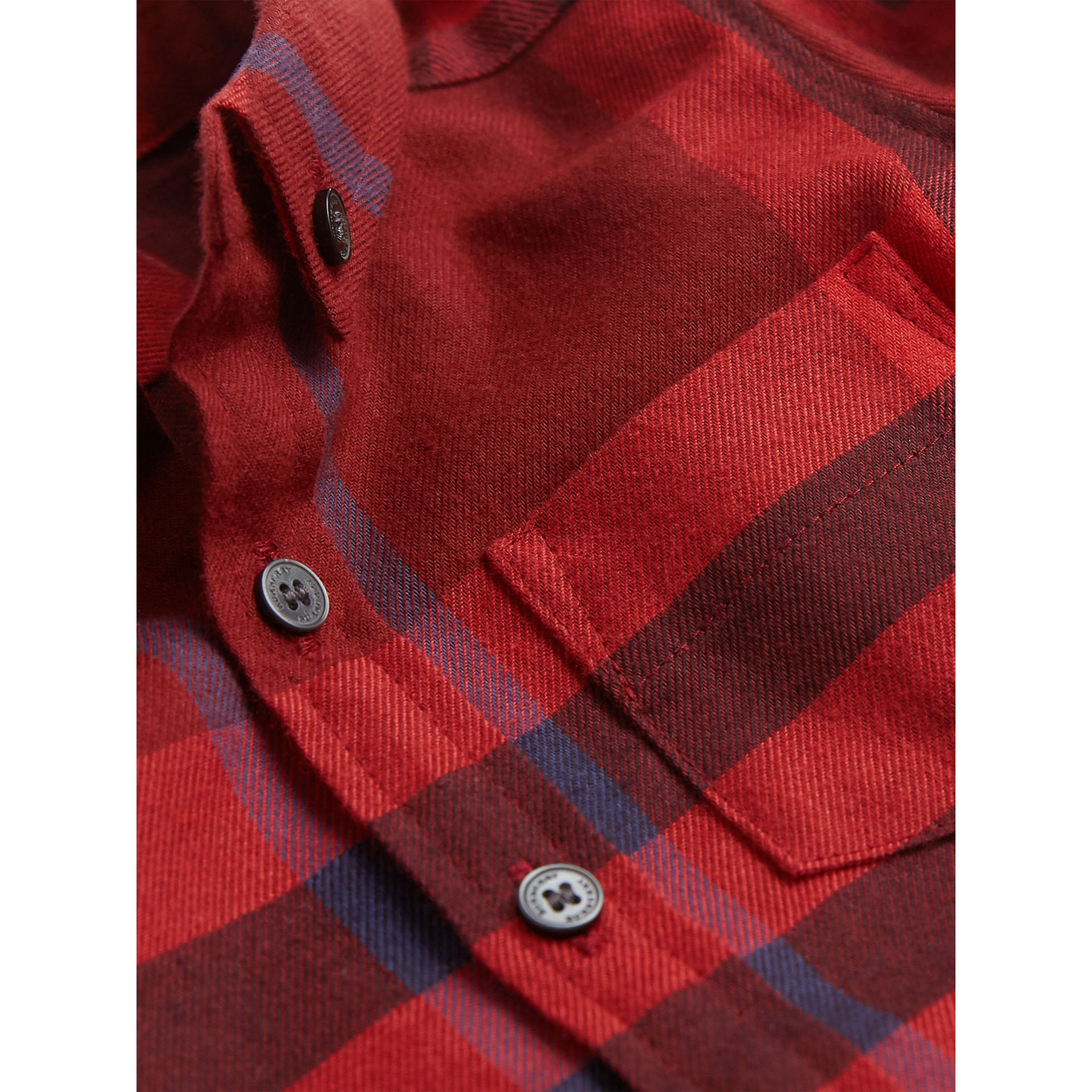Button-down Collar Check Cotton Shirt in Mahogany Red | Burberry - gallery image 1