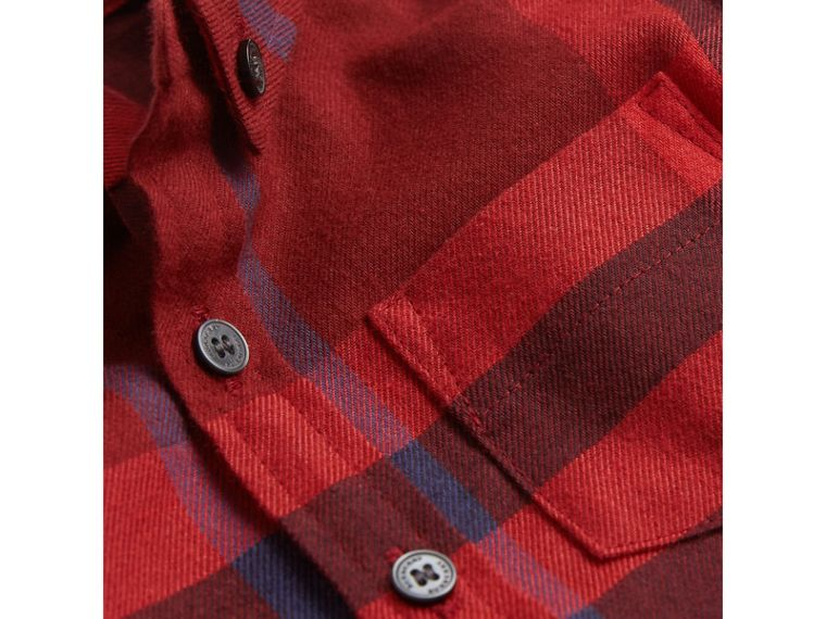 Button-down Collar Check Cotton Shirt in Mahogany Red | Burberry - cell image 1