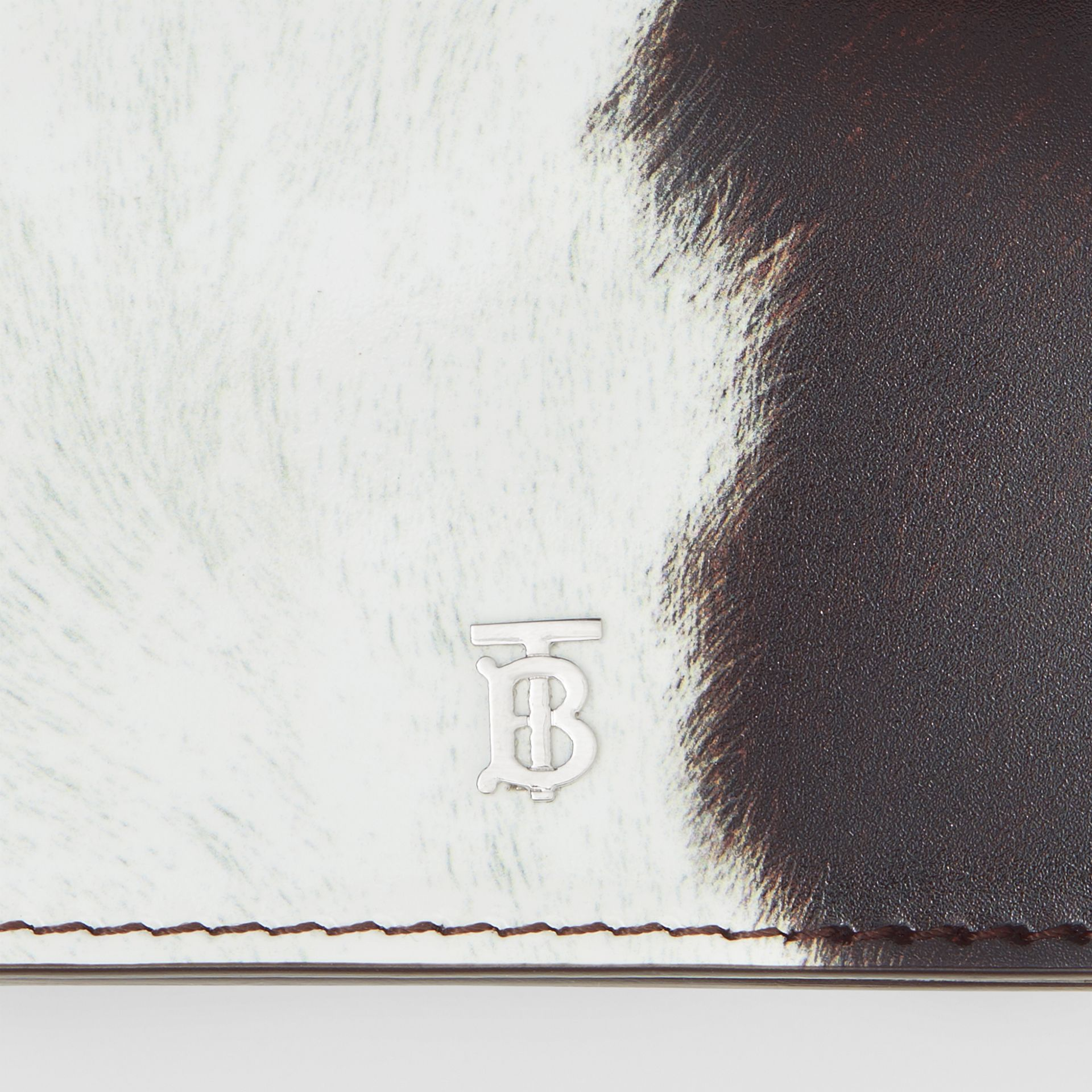 Cow Print Leather Card Case with Detachable Strap in Mahogany - Women | Burberry Hong Kong - gallery image 1