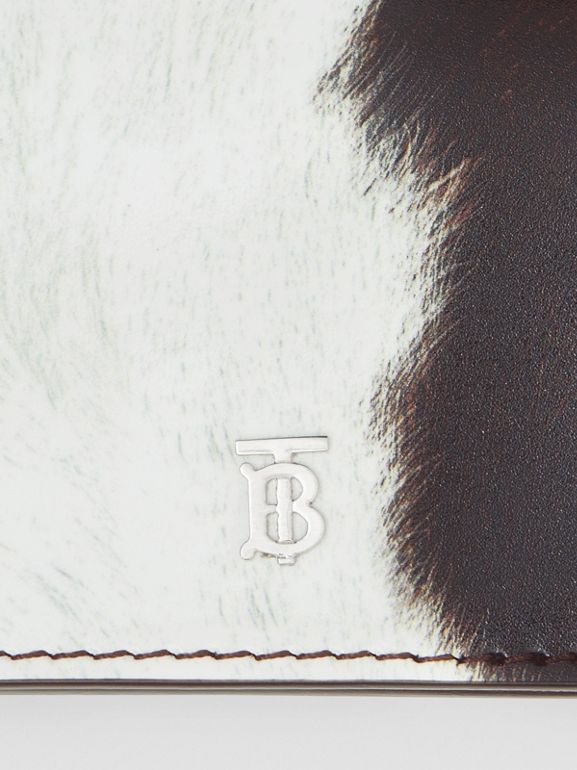 Cow Print Leather Card Case with Detachable Strap in Mahogany - Women | Burberry United Kingdom - cell image 1
