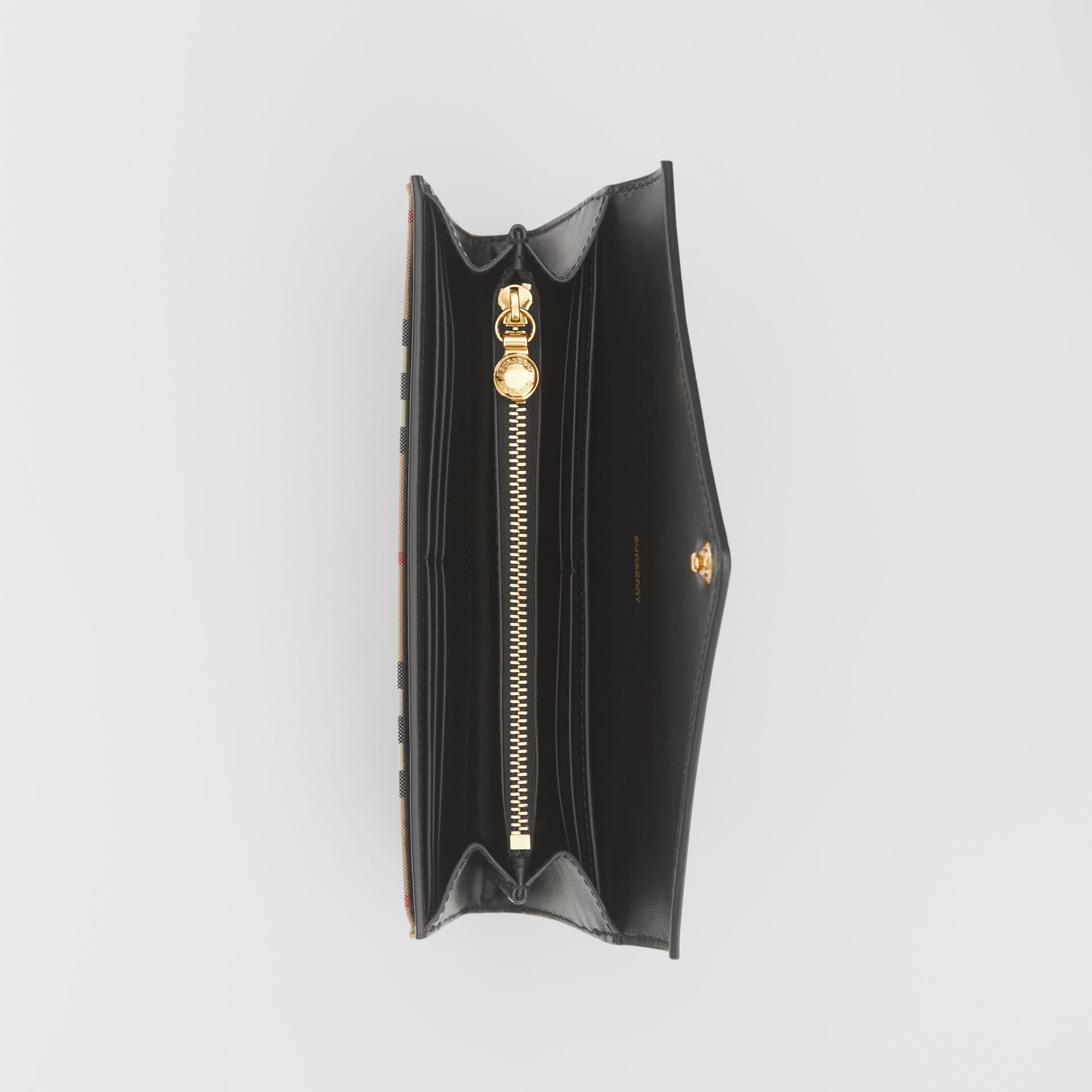 Vintage Check and Leather Continental Wallet in Black - Women | Burberry - gallery image 2
