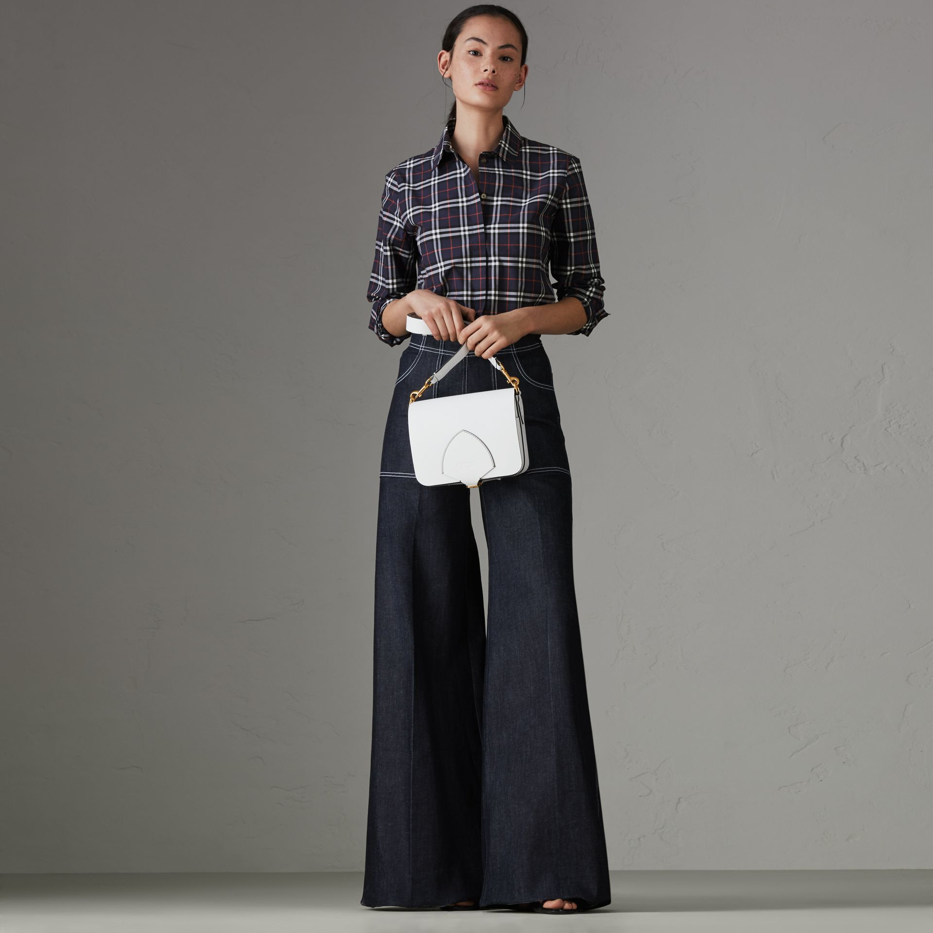 Check Cotton Shirt in Navy - Women | Burberry - gallery image 0