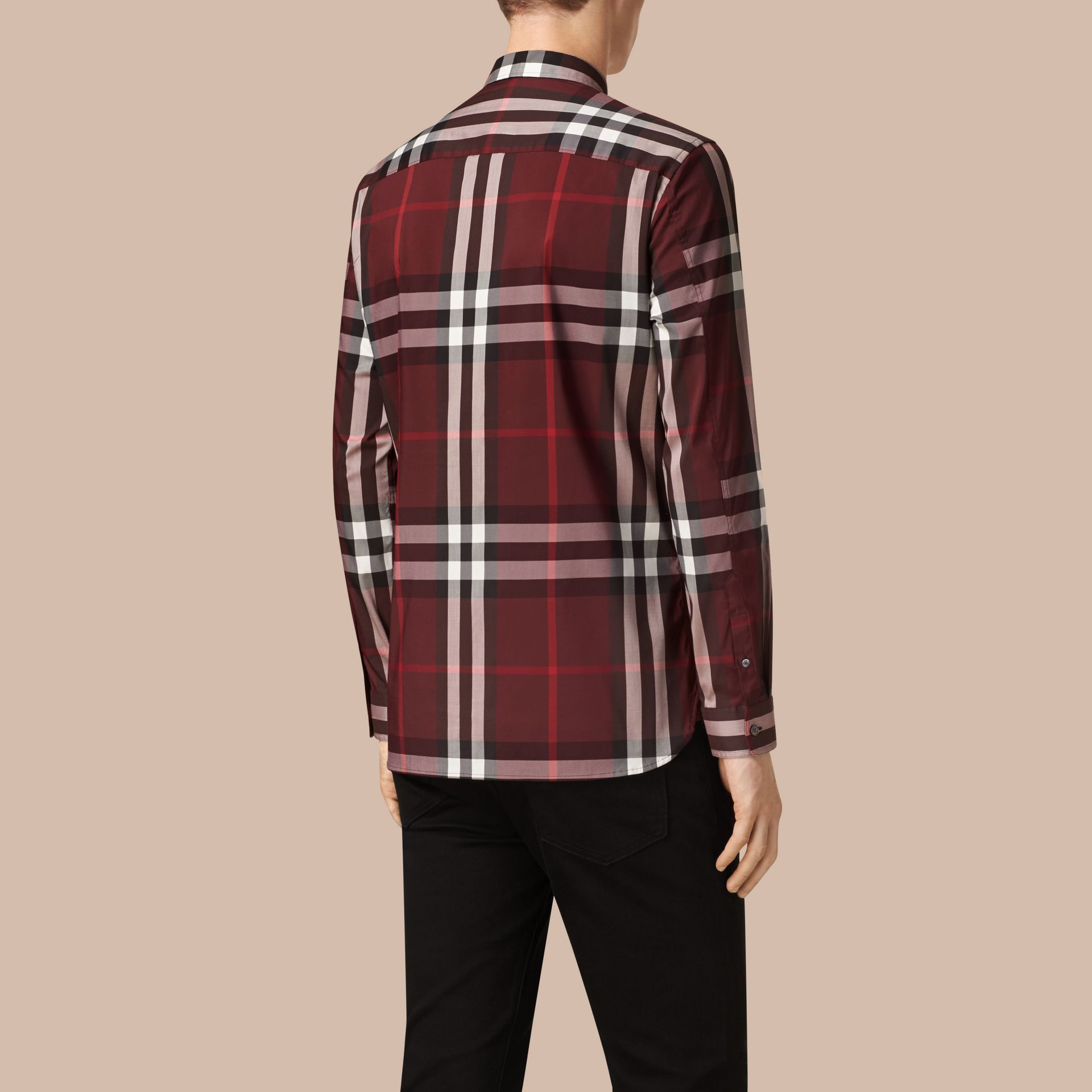 Claret Check Stretch Cotton Shirt Claret - gallery image 3