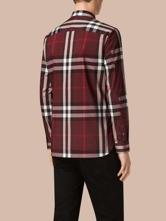Claret Check Stretch Cotton Shirt Claret - cell image 2