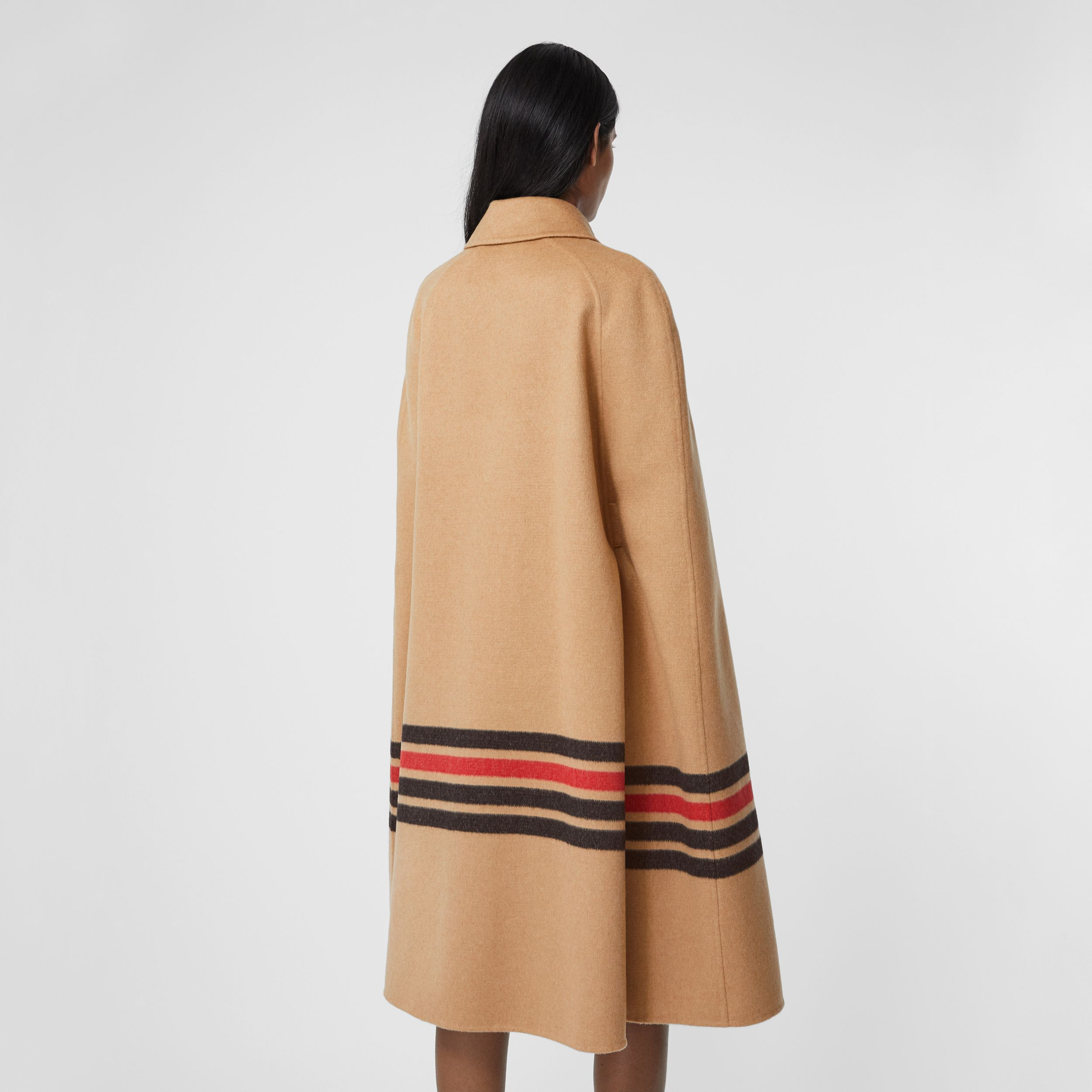 Stripe Detail Double-faced Cashmere Cape in Light Camel - Women | Burberry - 3