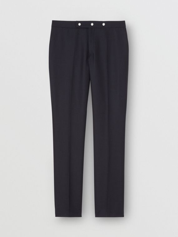 Classic Fit Triple Stud Wool Mohair Tailored Trousers in Midnight Blue